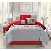 b432a70da5b Empire Home Oversized Gray   Red 7-Piece Floral Embroidered Bedding  Comforter Set with 21068