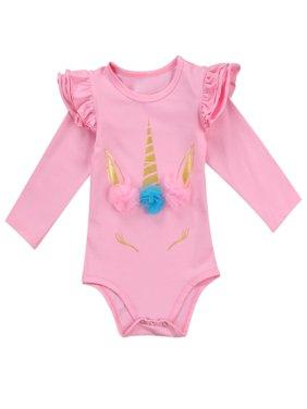 StylesILove Infant Baby Girl Unicorn 3D Ruffle Shoulder Long Sleeve Cotton Bodysuit (100/18-24 Months, Pink)