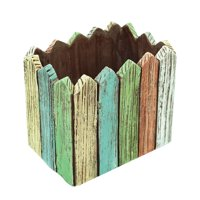 Alpine Rectangle Multi-Color Picket Fence Flower Pot, 5 Inch Tall
