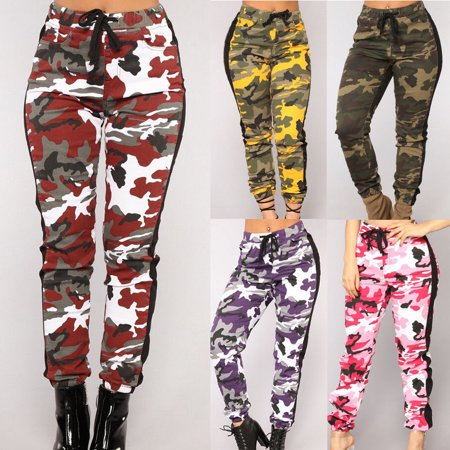 Fashion Women Casual Sport Camouflage Pants Gym Workout Army Camouflage Trousers - Pirate Pants Womens