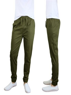 Mens Joggers Chino Pants Stretch Twill Slim Fit