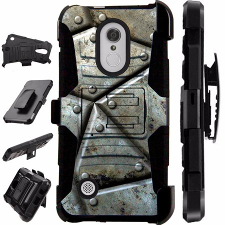 [World Acc] For LG Rebel 3 L158C L158VL L157BL Case Heavy Duty Hybrid Silicone Cover Stand LuxGuard Holster (Metal (Stand Accs Kit)