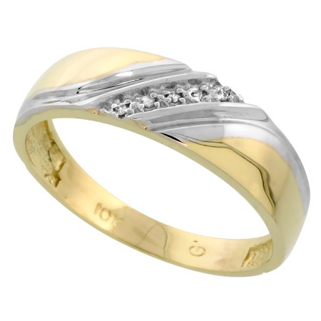 10k Yellow Gold Mens Diamond Wedding Band Ring 0.03 cttw Brilliant Cut, 1/4 inch 6mm wide 10k Mens Diamond Band
