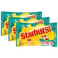 (3 Pack) Starburst, Tropical Fruit Chews Candy, 14 Oz