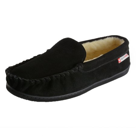 Alpine Swiss Yukon Mens Suede Shearling Moccasin Slippers Moc Toe Slip On Shoes - Wolf Slippers Adults