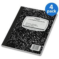 (4 Pack) Composition Book, Wide Rule, 9 3/4 x 7 1/2, White, 100 Sheets