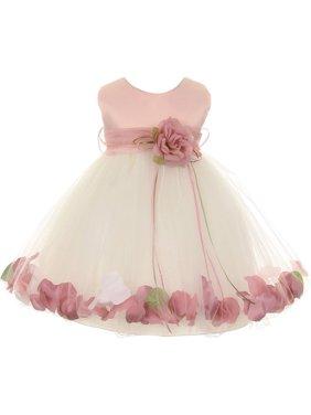 Kids Dream Baby Girls Ivory Rose Top Satin Petal Floating Flower Girl Dress 24M