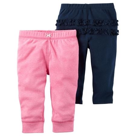 Carters Baby Girls 2-Pack Babysoft Neon Pants Ruffle Navy/Pink