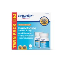 Equate Maximum Strength Acid Reducer Famotidine Tablets, 20mg, 100Ct