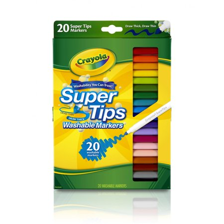 Crayola Super Tips Washable Markers, Fine Line, 20 Count