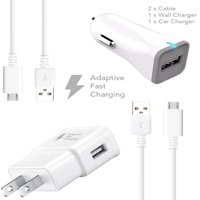 Samsung Galaxy S6 Charger Fast Micro USB 2.0 Cable Kit by Ixir - {Fast Wall Charger + Fast Car Charger + 2 Cable}