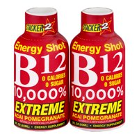 (4 Pack) Stacker 2 Extreme B12 10,000% Energy Shot Acai Pomegranate, 2 fl oz, 2 count