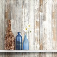 RoomMates Distressed Wood Peel and Stick Wall Décor Wallpaper