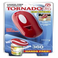Tornado F4 Can Opener - New and Improved - Safest, fastest, Easiest Hands-Free Can Opener (Red)...