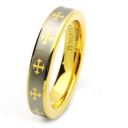 Men Women Tungsten Carbide Wedding Band Ring 5mm Comfort Fit Gold Plated Celtic Cross Tungsten
