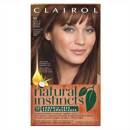 Bamboo Dyes (Clairol Natural Instincts Semi-Permanent Hair Color, Medium Golden Brown Pecan, 5G/18)