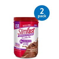 (2 Pack) SlimFast Advanced Nutrition High Protein Smoothie Mix Powder, Creamy Chocolate, 11.4 Oz, 12 Servings