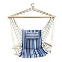 Hanging Chair with Pillow & Arms - Blue and Grey Striped Pattern