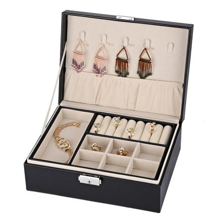 Pennant Holder - Yosoo PU leather Earring Organizer Holder for Cufflinks, Rings, Pendants, Chain - 5 Necklace Hook, 2 Stackable Trays - Elegant Jewelry Storage Box with Lock for Girls Women