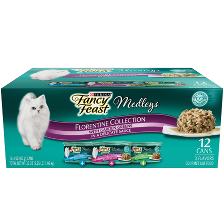 (12 Pack) Fancy Feast Gravy Wet Cat Food Variety Pack, Medleys Florentine Collection, 3 oz. Cans