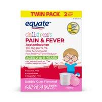 Equate Children's Pain & Fever Relief, Bubble Gum Flavor, 4 oz, 2 Pk