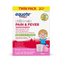 Equate Children's Pain & Fever Relief, Bubble Gum Flavor, 4 oz, 2 Pk