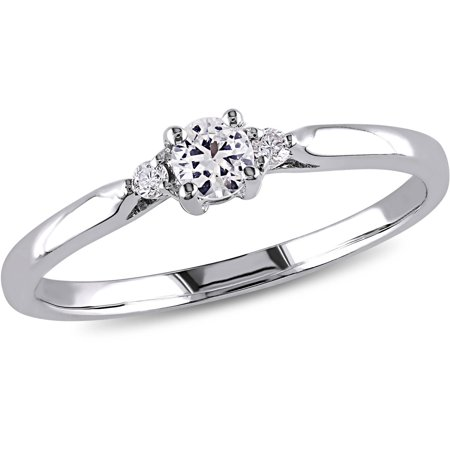 1/4 Carat T.G.W. Created White Sapphire and Diamond-Accent Sterling Silver Engagement Ring