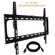 "Fixed TV Wall Mount Bracket Fits 32-70"" TV's 600x400 VESA Low Profile Ultra Slim including Bubble Level & 10ft. HDMI Cable Extra Strength & Life Time Warranty-(Black)- KORAMZI KWM988F"