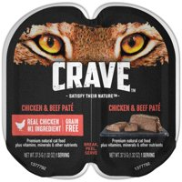 (24 Pack) CRAVE Grain Free Adult High Protein Wet Cat Food Pate Chicken & Beef, 2.6 oz. Twin-Pack Tray
