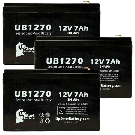 - 3x Pack - Compatible APC BP280S Battery - Replacement UB1270 Universal Sealed Lead Acid Battery (12V, 7Ah, 7000mAh, F1 Terminal, AGM, SLA) - Includes 6 F1 to F2 Terminal Adapters