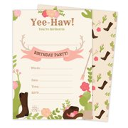 Cowgirl Cow Girl Style 2 Happy Birthday Invitations Invite Cards 25 Count With Envelopes