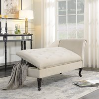 Belleze Nailhead Trim Velveteen Storage Chaise Lounge Chair Tufted Couch Fold Open Lid, Beige