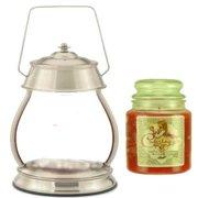 Hurricane Brushed Nickel Candle Warmer Gift Set - Warmer and Candle - CINNAMON VANILLA