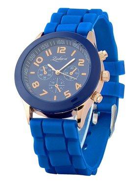 Zodaca Dark Blue Unisex Men Women Silicone Jelly Quartz Analog Sports Wrist Watch New