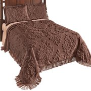 Logan Raised Medallion Chenille Bedspread with Fringe Border, Queen, Chocolate