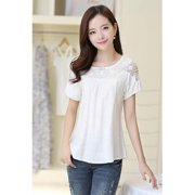 Women Evening Wear Short Sleeves Lace Shirt and Blouse White