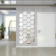 12Pcs Wall Sticker Hexagonal 3D Mirror DIY Self-adhesive Home Decor Art Decals