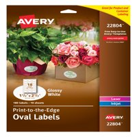 "Avery Easy Peel Labels, True Print, Print to the Edge, Glossy, Oval, 1-1/2"" x 2-1/2"", 180 Labels (22804)"