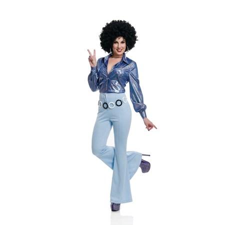 Halloween 70'S Women Disco Pants - Powder Blue - Halloween Costumes 70's Disco