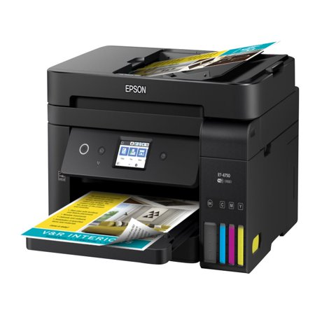 Epson WorkForce ET-4750 EcoTank Wireless Color All-in-One Supertank Printer with Scanner, Copier, Fax and Ethernet (Epson Printer Ethernet)