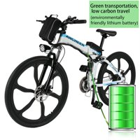 """ANCHEER Folding Electric Mountain Bike with 26"""" Super Lightweight Magnesium Alloy 6 Spokes Integrated Wheel, Large Capacity Lithium-Ion Battery (36V 250W), and Shimano Gear"""