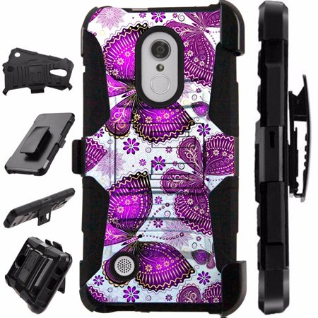 [World Acc] For LG Rebel 3 L158C L158VL L157BL Case Heavy Duty Hybrid Silicone Cover Stand LuxGuard Holster (Purple (Stand Accs Kit)