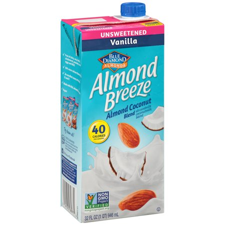 (4 Pack) Almond Breeze Almondmilk, Unsweetened Vanilla Almond Coconut Blend 32 oz