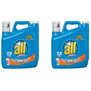 (2 pack) all Liquid Laundry Detergent with OXI Stain Removers and Whiteners, 141 Ounce, 79 Loads