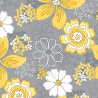 Emma and Mila Yellow Matters Collection Grey 44'' Wide 1 Yard Pre Cut 100% Cotton Quilting Fabric by the Yard