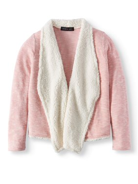Open Front Cardigan Sweater with Sherpa Collar (Big Girls)