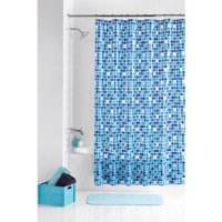 Mainstays PEVA Mosaic 13 Piece Shower Curtain with Roller Glide Hooks Set