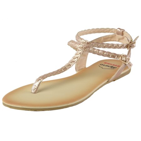 Alpine Swiss Womens Gladiator Sandals Braided T-Strap Slingback Roman Flats