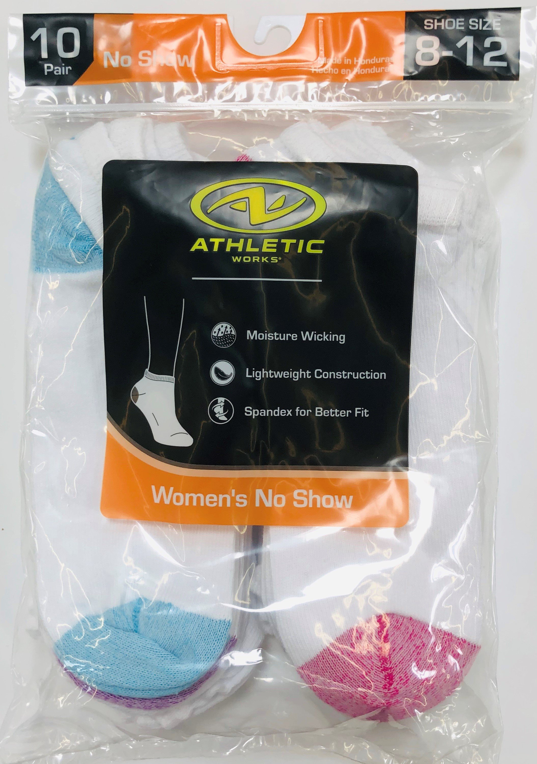 Athletic Works Women's No Show Socks, 10 Pack, 8-12, White Assorted