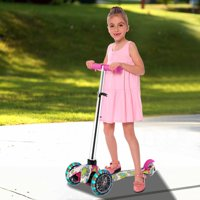 3 Wheel Kick Scooter for Kids Boys Girls with flashing wheels,4 Adjustable Heigh,for Children from 3 to 17 Years Old Hifashion